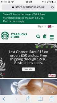 Starbucks Store £15 off £50 spend and free delivery
