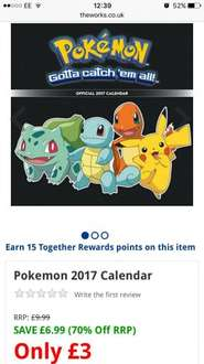Official Pokemon 2017 Wall Calendar only £3 @ The Works free C&C plus 23.1% cash back via Quidco