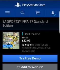 Fifa 17 £32.99 playstation network sale £29.58 via cdkeys £30 psn card