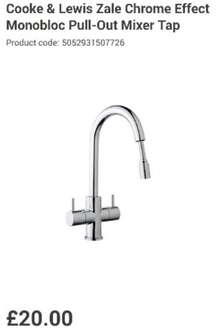 COOKE & LEWIS ZALE CHROME EFFECT MONOBLOC PULL-OUT MIXER TAP £25 Delivered @ B&Q