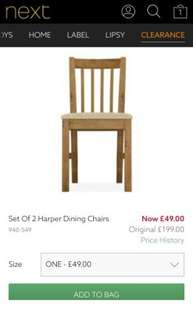 pair wood dining chairs £49 from Next online