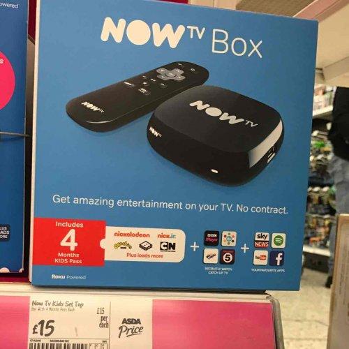 now tv £15 @ asda 4 months kids pass - 3 months ent pass - 2 month movie pass