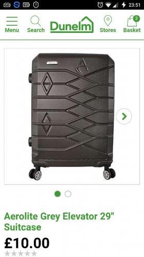 "Aerolite Grey Elevator 29"" Suitcase at Dunelm £10"