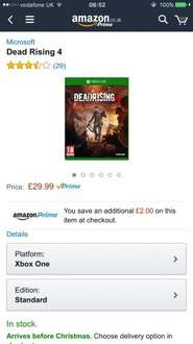 Dead Rising 4 XB, £29.99 Amazon. £27.99 for prime members