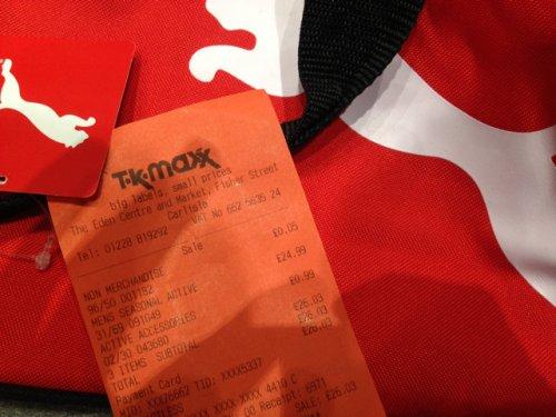 PUMA gym bag scanning at 99p at tk Maxx Carlisle