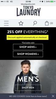 25% off everything @ Tokyo Laundry!!