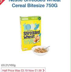 Nestle Shredded Wheat Cereal Bitesize 750g was £3.19 now £1.59 @ Tesco