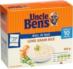 Uncle Bens Boil In Bag Long Grain Rice (500g) (GLUTEN FREE) Save £1.23 was £2.73 now £1.50 @ Tesco