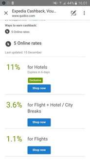 11% Cashback For Hotels (Quidco) @ Expedia