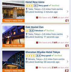 £1 hotel for Tokyo in 21st Dec 2016 @ Booking.com
