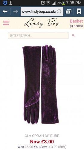 lindy bop oprah deep purple elbow length velvet gloves - £3 + £3 del
