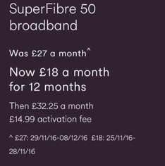 Virgin Media 50mb Broadband Only £18pm No Line Rental Required (Total deal £18 x 12 months = £216)