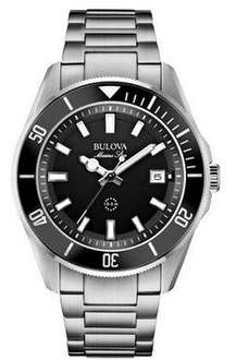 TODAY ONLY.Bulova Men's Quartz Watch with Black Dial Analogue Display and Silver Stainless Steel Bracelet £96.57 via Amazon
