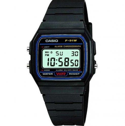 Casio F-91W-1YER LCD Classic Black Digital Watch - 2yr Warranty, 7yr battery life, Chrono, Timer, Alarm, LED, Water Resistant - £6.45 @ 7dayshop (using code + 2.87% back TCB / 7.7% Quidco)