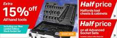 Extra 15% off all Hand Tools - Example socket set already reduced half price to £200 now Halfords