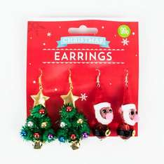 £0.99 for two Christmas earrings has three options pack @ card factory