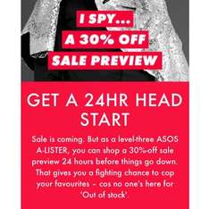 ASOS 30% off sale preview for A-list members