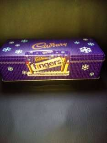 Cadbury fingers tin 99p Heron.