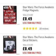 Star Wars stickers and more from 49p @ Argos (free C&C)