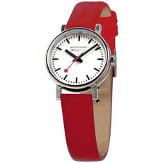 Mondaine Women's Quartz Watch with White Dial Analogue Display and Red Leather Strap £74.51 @ Amazon