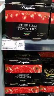 Napolina Tinned Tomatoes (Chopped/Peeled Plum).  4 Pack £1.00  Asda Instore