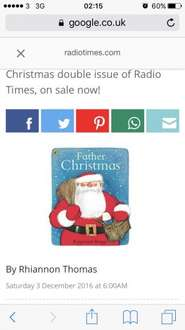 Free santa book with £4.50 radio times - collect at  one stop