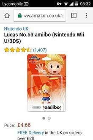 Lucas amiibo - £4.54  (Prime) / £6.53 (non Prime) at Amazon