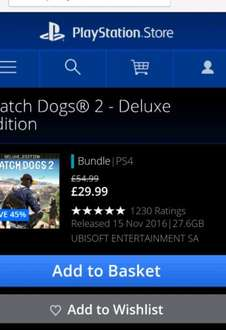 Watchdogs 2 Deluxe edition PSN £26.59 with credit via CDkeys in first comment via BuzzDuraband
