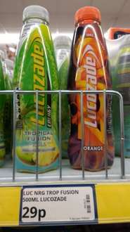 Lucozade 500ml bottle, 29p or 4 for £1 @ poundstretcher