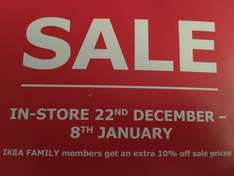 Ikea Sale Instore 22nd December - 8th January
