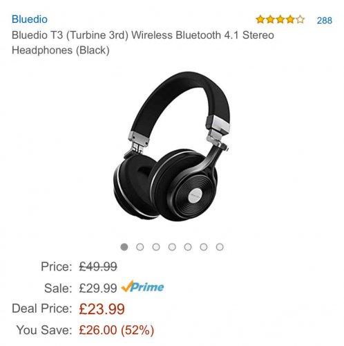 bluedio T3 Bluetooth headphones (black) £23.99 @ Amazon