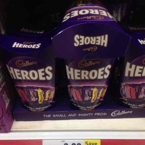 Cadburys Heroes 323g carton was £3 now £2 @ Tesco (cheaper than tubs per 100g)