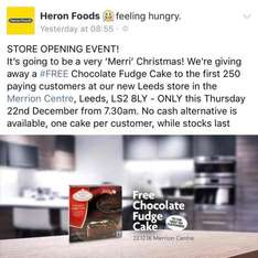 Free Fudge Cake for first 250 customers at new Heron Store - Leeds
