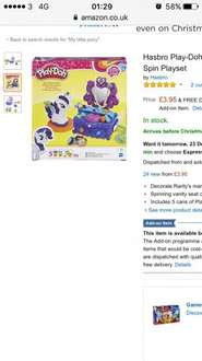 My little pony rarity play doh set £3.95 Amazon  (add on item / £20 spend)