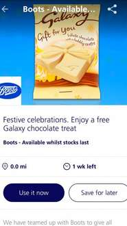 Free Galaxy Gift for you chocolate 26g at Boots with O2 Priority