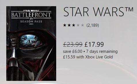 Battlefront Season Pass £15.59 Xbox One