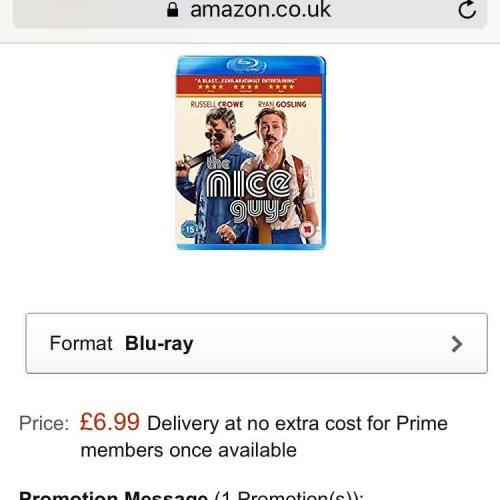 the nice Guys blu ray £6.99 (Prime) / £8.99 (non Prime) at Amazon