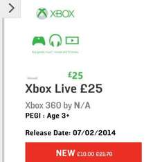 £25 Xbox Live credit for £10.00 / £50 credit for £25.00 @ GameStop