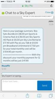 Full Sky HD 75% off + Broadband + line £41.90 a month - 12 months Total £502.80