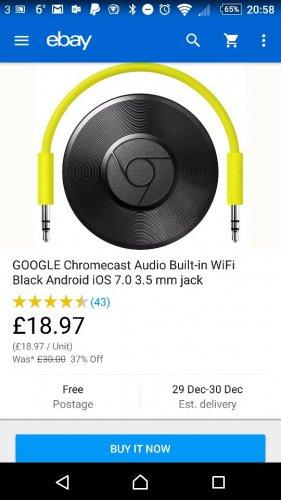 Used Google Chromecast Audio £18.97 @ Currys PCWorld eBay outlet
