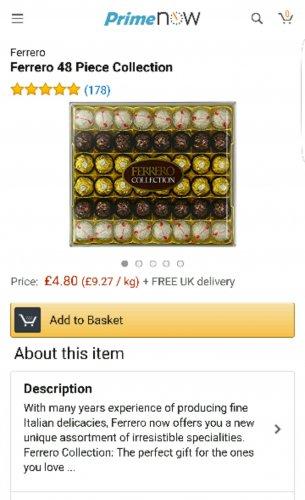 Ferrero Roche 48 Pack Amazon Prime NOW - £4.80 (Min spend £20) *Possibly Birmingham Area Only*