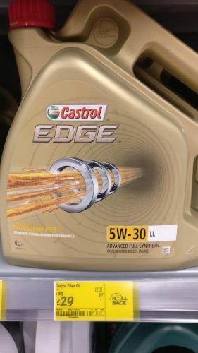 Castrol Edge 5w30 engine oil 4 litres £29! instore @ Asda