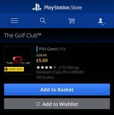 The Golf Club PS4 £7.99/ £5.09 with PS Plus @ Playstation Store/ PSN