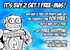Buy 3 Shirts, get cheapest free - Qwertee (free shipping on cheapest)