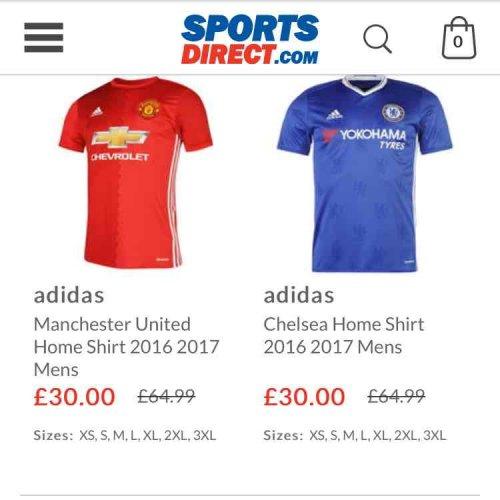 football shirts sports direct sale £30 adult £25 junior