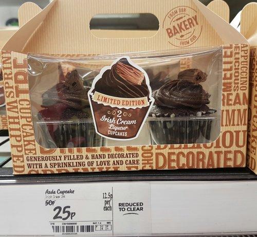 2 Large Irish Cream Liquer Cupcakes 25p @ Asda Instore