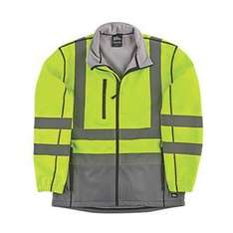 "Hyena Hi-Vis 2-Tone Soft Shell Jacket Yellow/Grey Medium 47"" Chest | Hi Vis Jackets £17.49 | Screwfix.com"