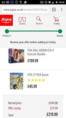 PS4 bundle 500gb with Fifa 17 and GTA v £219.99 at Argos