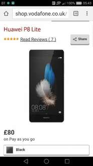 Vodafone payg sale - P8 lite £80 + £10 top up P8 lite £80 + £10 top up