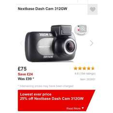 Nextbase Dash Cam 312GW at Halfords for £75 (possible cashback to £72.75)